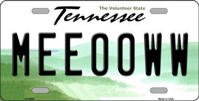 Meeooww Tennessee Novelty Metal License Plate