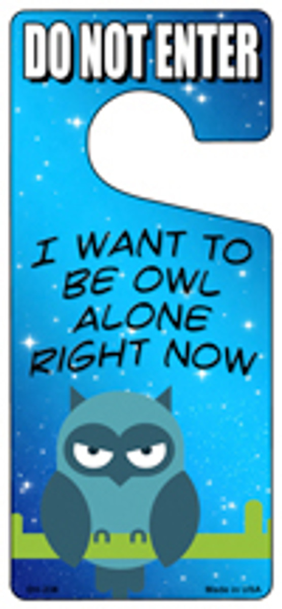 Be Owl Alone Right Now Novelty Metal Door Hanger DH-238