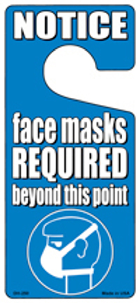 Face Masks Required Blue Novelty Metal Door Hanger DH-250