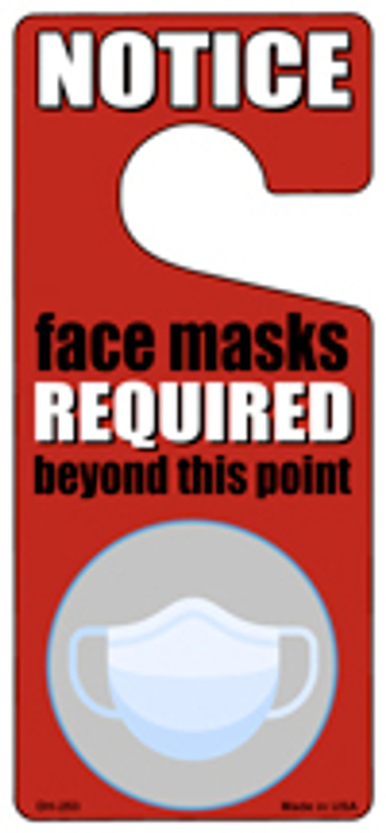 Face Masks Required Red Novelty Metal Door Hanger DH-253