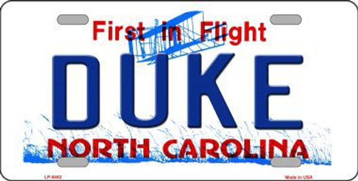 Duke North Carolina Novelty Metal License Plate