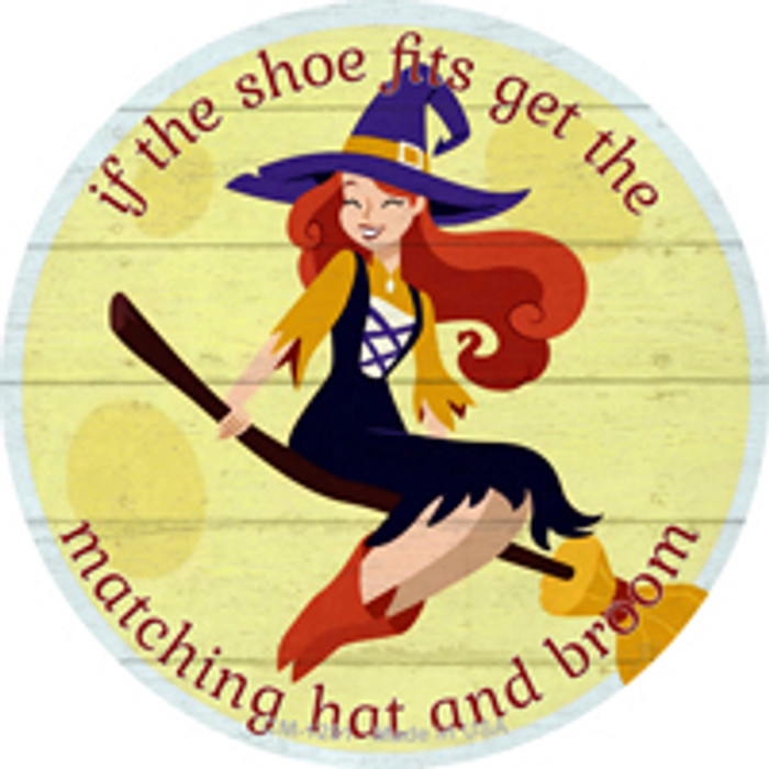 Matching Hat and Broom Girl Novelty Mini Metal Circle Magnet CM-1281