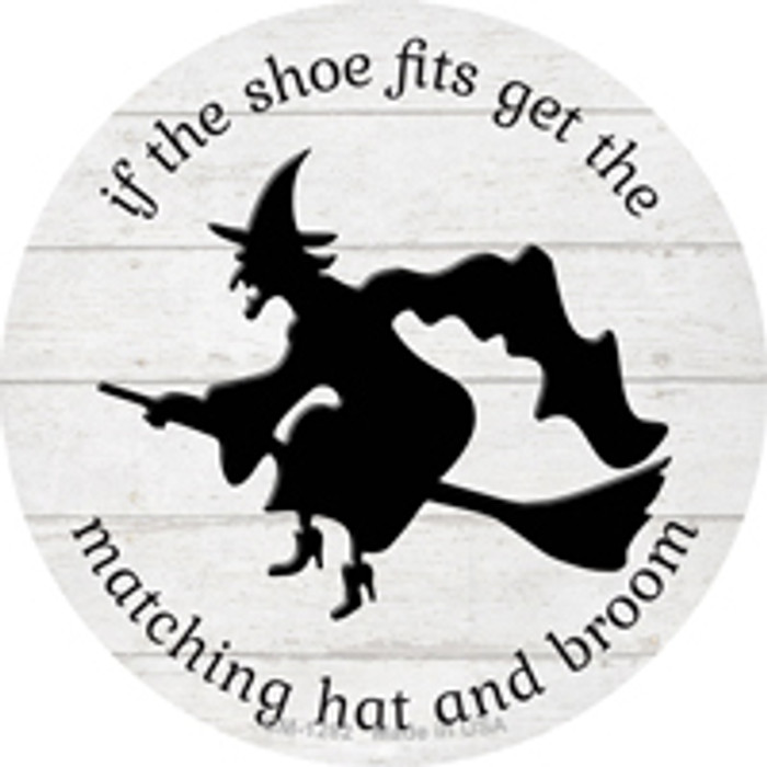Matching Hat and Broom Witch Novelty Mini Metal Circle Magnet CM-1282