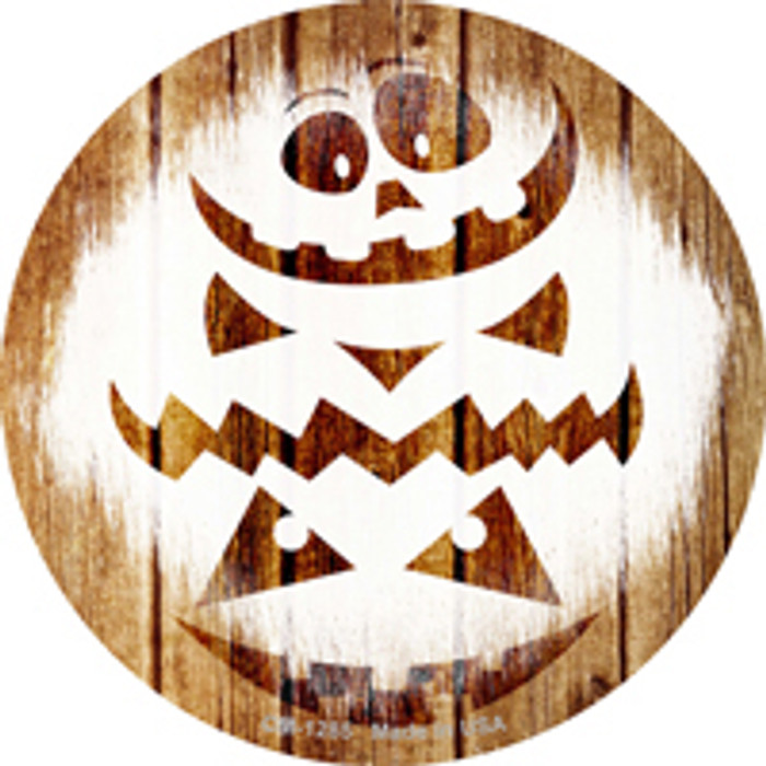 Pumpkin Carving Wood Background Novelty Mini Metal Circle Magnet CM-1285