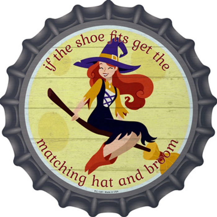 Matching Hat and Broom Girl Novelty Metal Bottle Cap BC-1281