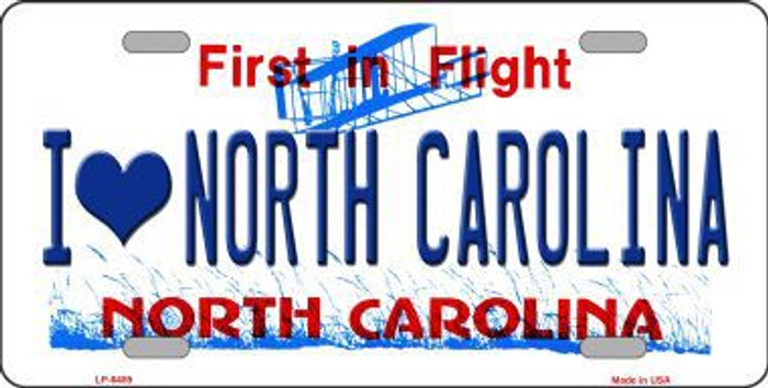 I Love North Carolina Novelty Metal License Plate