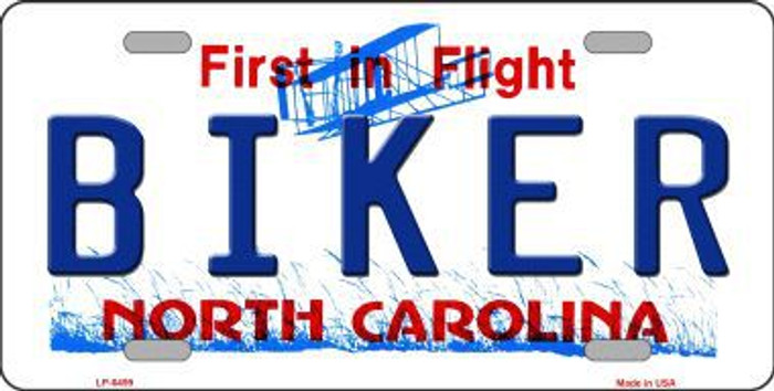 Biker North Carolina Novelty Metal License Plate