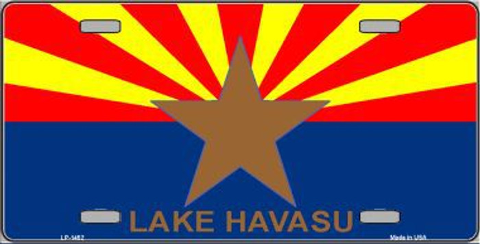 Lake Havasu Arizona State Flag Background Metal Novelty License Plate