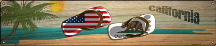 California Flag and US Flag Novelty Metal Street Sign ST-1478