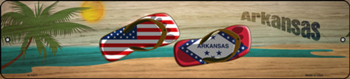 Arkansas Flag and US Flag Novelty Small Metal Street Sign K-1477