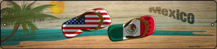 Mexico Flag and US Flag Flip Flop  Novelty Small Metal Street Sign K-1526