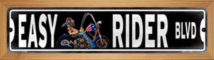Easy Rider Novelty Wood Mounted Small Metal Street Sign WB-K-1472