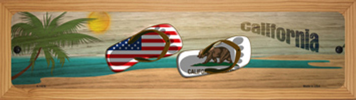 California Flag and US Flag Novelty Wood Mounted Small Metal Street Sign WB-K-1478