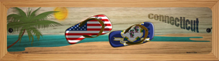 Connecticut Flag and US Flag Novelty Wood Mounted Small Metal Street Sign WB-K-1480