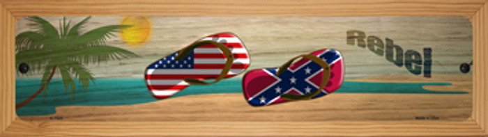 Confederate Flag and US Flag Novelty Wood Mounted Small Metal Street Sign WB-K-1525