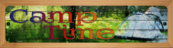 Camp Time Novelty Wood Mounted Small Metal Street Sign WB-K-1538