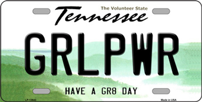 Girl Power Novelty Metal License Plate Tag LP-13643