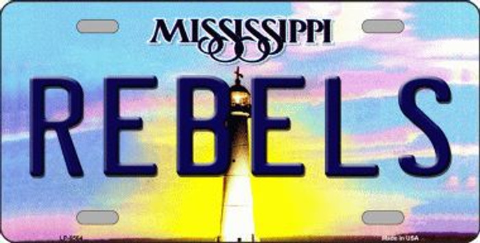 Rebels Mississippi Novelty Metal License Plate