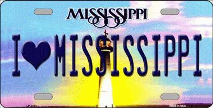 I Love Mississippi Novelty Metal License Plate