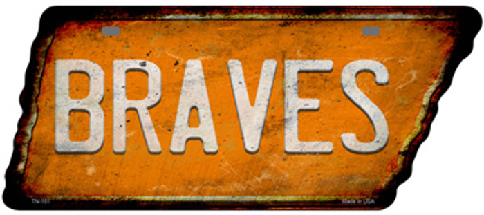 Braves Novelty Rusty Effect Metal Tennessee License Plate Tag TN-151
