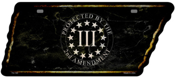 2nd Amendment Three Percenter Novelty Rusty Effect Metal Tennessee License Plate Tag TN-195
