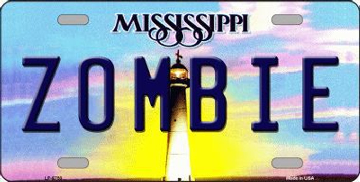 Zombie Mississippi Novelty Metal License Plate