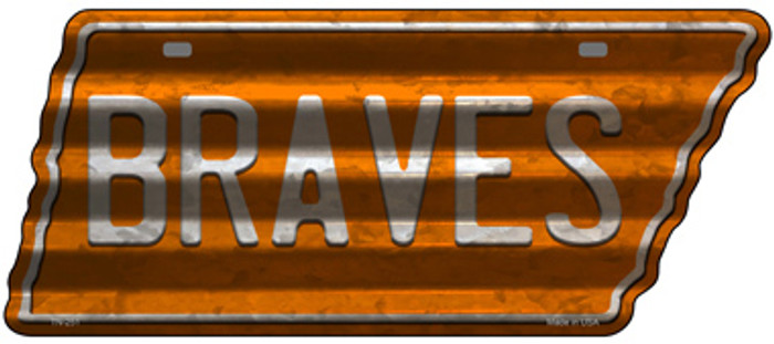 Braves Novelty Corrugated Effect Metal Tennessee License Plate Tag TN-251