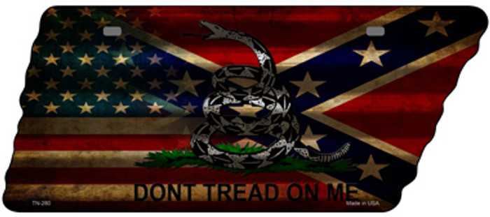 American Confederate Dont Tread Novelty Corrugated Effect Metal Tennessee License Plate Tag TN-280