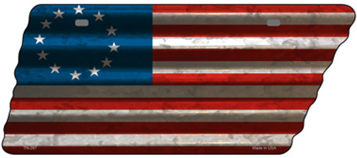 Betsy Ross American Flag Novelty Corrugated Effect Metal Tennessee License Plate Tag TN-287