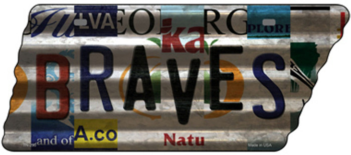 Braves Strip Art Novelty Corrugated Effect Metal Tennessee License Plate Tag TN-290