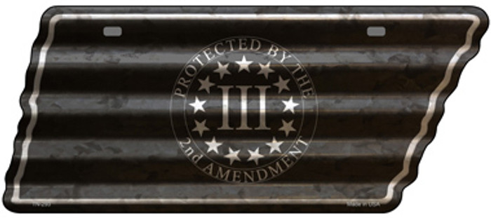 2nd Amendment Three Percenter Novelty Corrugated Effect Metal Tennessee License Plate Tag TN-293
