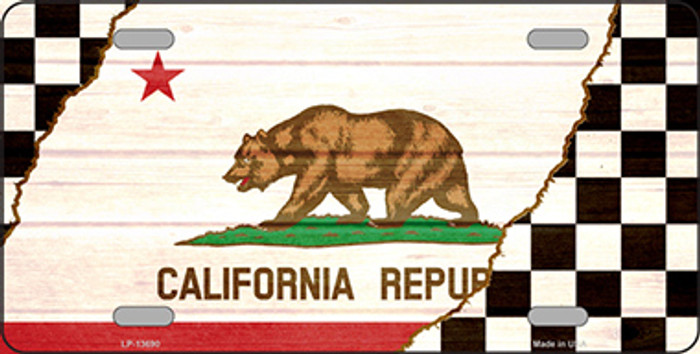 California Racing Flag Novelty Metal License Plate Tag LP-13690