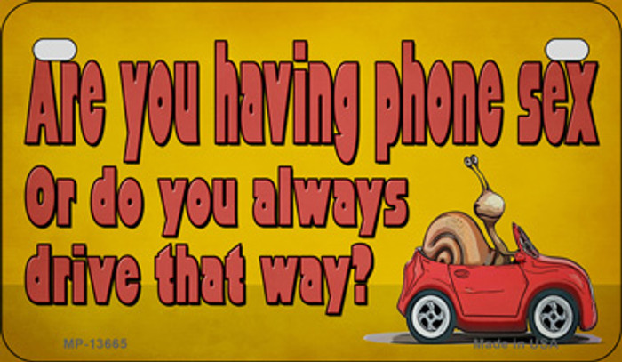 Are You Having Phone Sex Novelty Metal Motorcycle Plate MP-13665