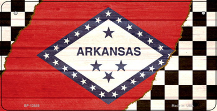 Arkansas Racing Flag Novelty Metal Bicycle Plate BP-13689