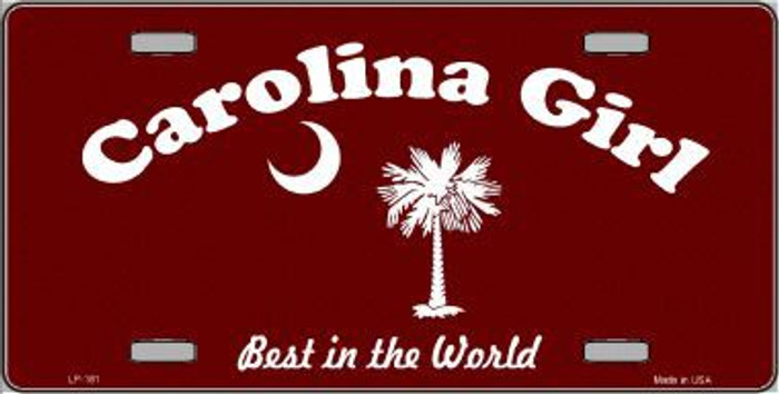 Carolina Girl Burgundy Novelty Metal License Plate