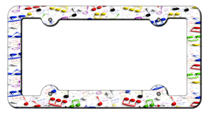 Music Notes Novelty Metal License Plate Frame LPF-028