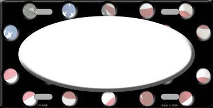 American Flag Polka Dots With White Center Oval Metal Novelty License Plate