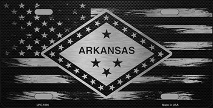 Arkansas Carbon Fiber Brushed Aluminum Novelty Metal License Plate LPC-1096