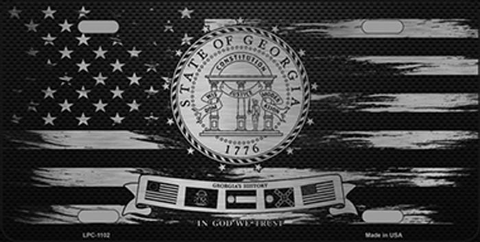 Georgia Carbon Fiber Brushed Aluminum Novelty Metal License Plate LPC-1102