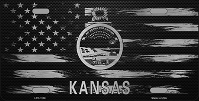 Kansas Carbon Fiber Brushed Aluminum Novelty Metal License Plate LPC-1108