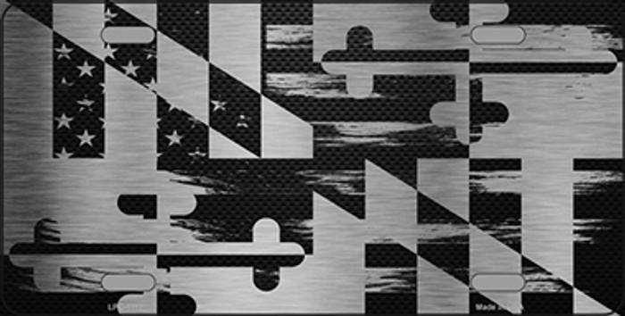 Maryland Carbon Fiber Brushed Aluminum Novelty Metal License Plate LPC-1112