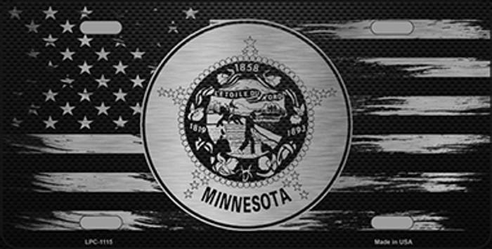 Minnesota Carbon Fiber Brushed Aluminum Novelty Metal License Plate LPC-1115