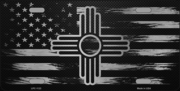 New Mexico Carbon Fiber Brushed Aluminum Novelty Metal License Plate LPC-1123