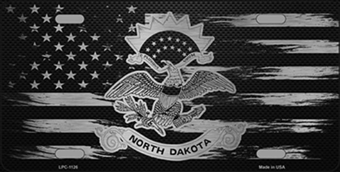 North Dakota Carbon Fiber Brushed Aluminum Novelty Metal License Plate LPC-1126