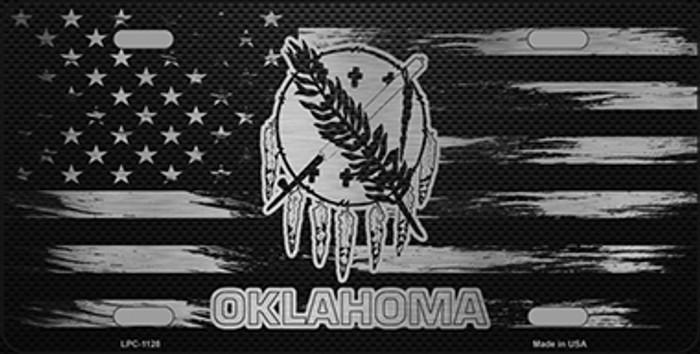 Oklahoma Carbon Fiber Brushed Aluminum Novelty Metal License Plate LPC-1128