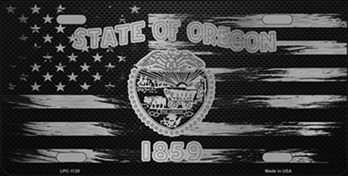Oregon Carbon Fiber Brushed Aluminum Novelty Metal License Plate LPC-1129