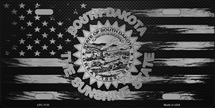 South Dakota Carbon Fiber Brushed Aluminum Novelty Metal License Plate LPC-1133