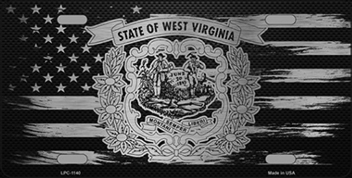 West Virginia Carbon Fiber Brushed Aluminum Novelty Metal License Plate LPC-1140