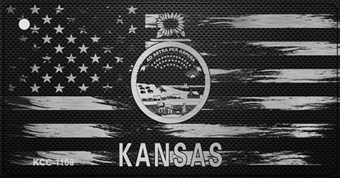 Kansas Carbon Fiber Effect Novelty Metal Key Chain KCC-1108