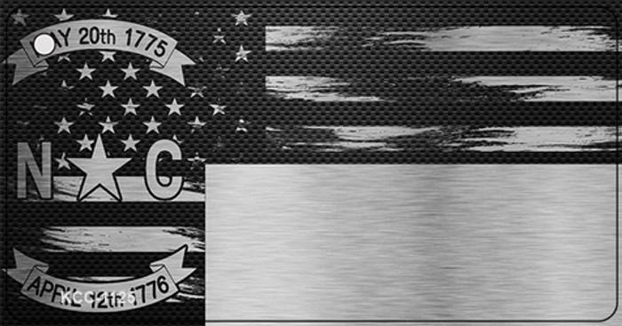 North Carolina Carbon Fiber Effect Novelty Metal Key Chain KCC-1125